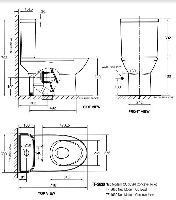 Bản Vẽ Bồn Cầu 2 Khối American Standard 2630-WT Modern
