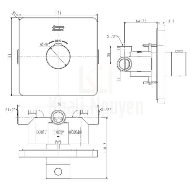 Bản vẽ kỹ thuật American Standard FFAS0930