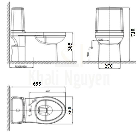 Bản vẽ kỹ thuật bồn cầu VF-1858PL