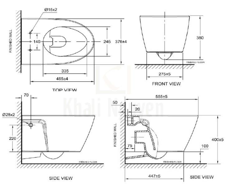 Bản Vẽ Bồn Cầu American Standard VF-3119B (3119B-WT) Treo Tường