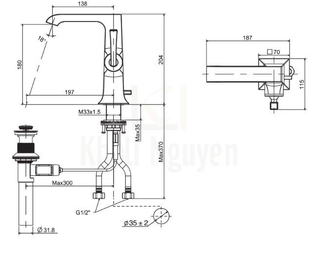 Bản Vẽ Kỹ Thuật American Standard WF-1601