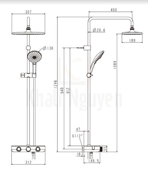 Bản vẽ kỹ thuật American Standard WF-4955