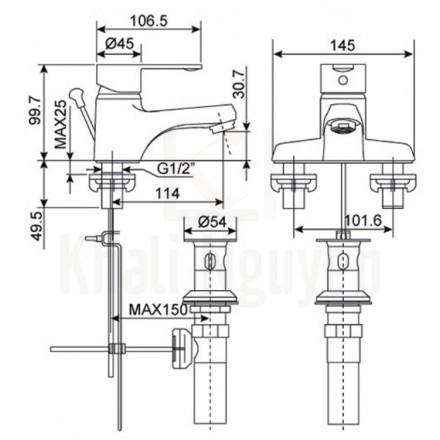 Bản Vẽ Vòi Lavabo American Standard Seva WF-6502 Nóng Lạnh