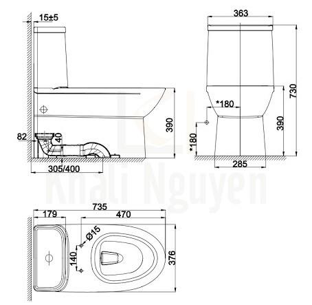 Bản Vẽ Bồn Cầu 1 Khối American Standard WP-2073