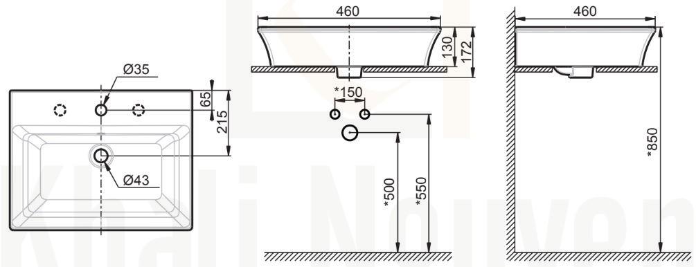 Bản Vẽ Chậu Đặt Bàn American Standard WP-F525.3H