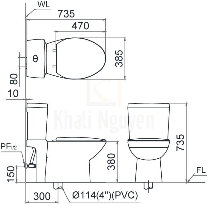 Bản Vẽ Bồn Cầu CAESAR CD1340 Thùng T1140 Nắp Êm