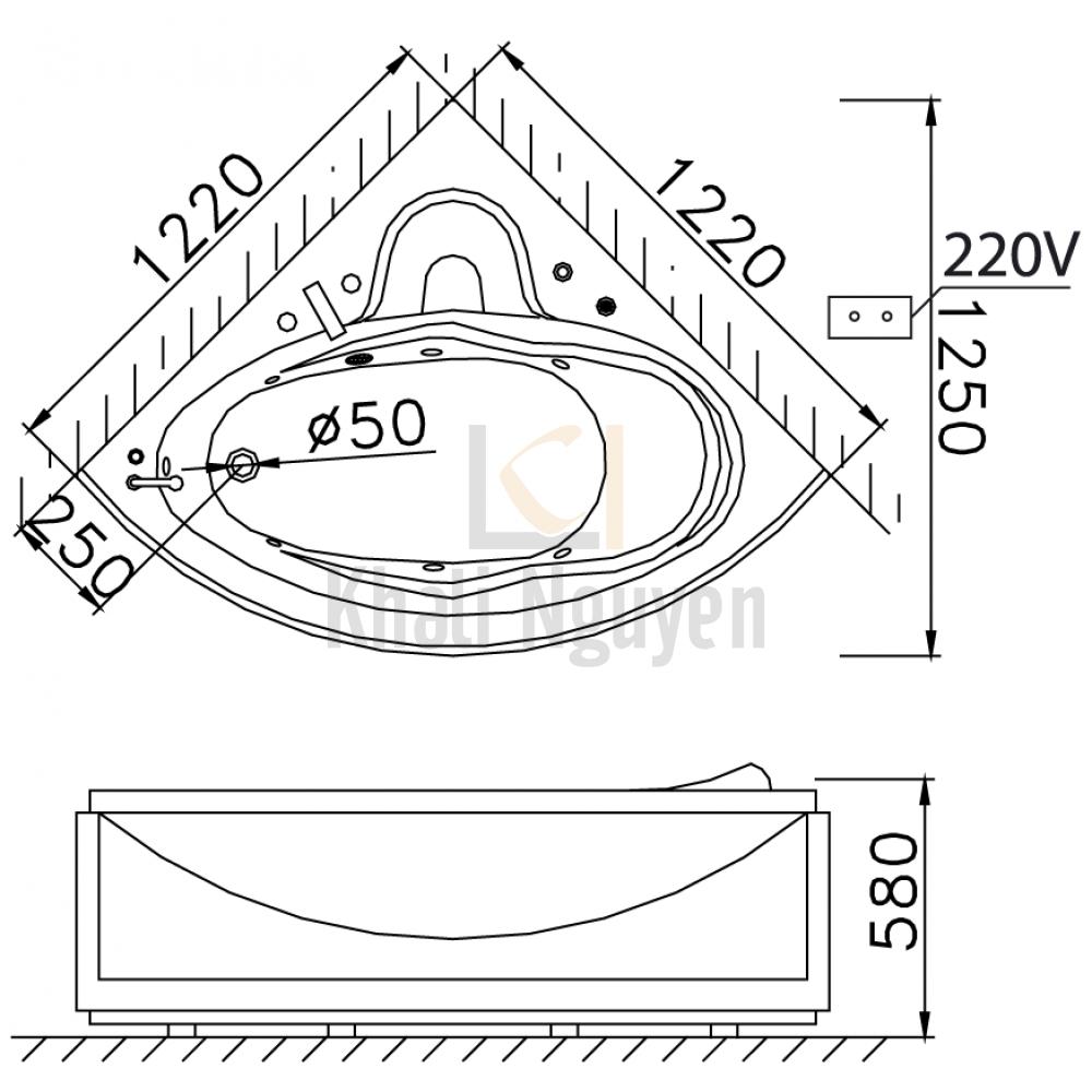 Bản vẽ kỹ thuật bồn tắm góc Caesar AT5120A