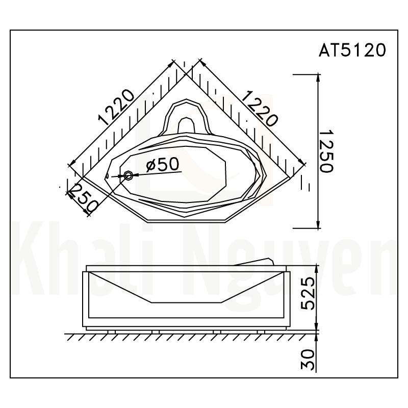 Bản vẽ kỹ thuật bồn tăm CAESAR AT5120