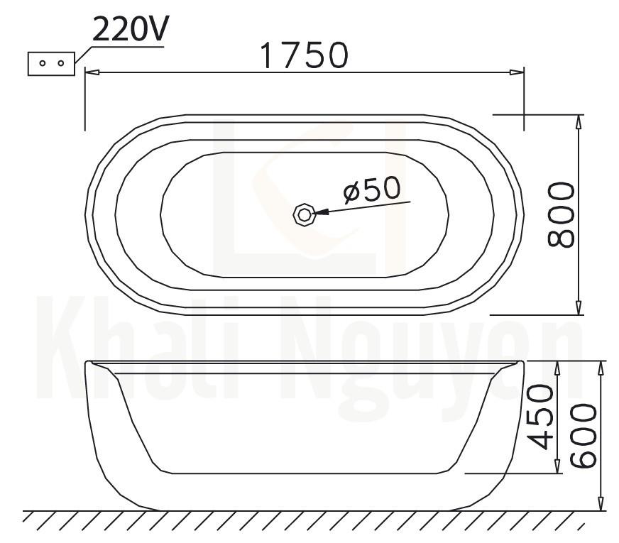 Bản vẽ kỹ thuật bồn tắm CAESAR AT0770