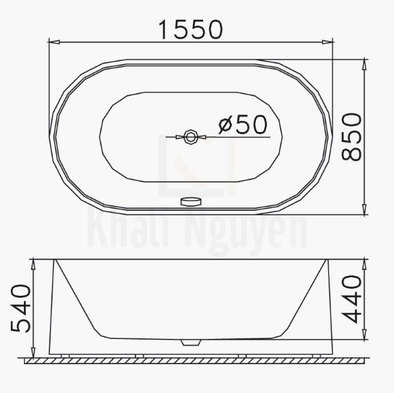 Bản vẽ kỹ thuật bồn tắm CAESAR AT6350