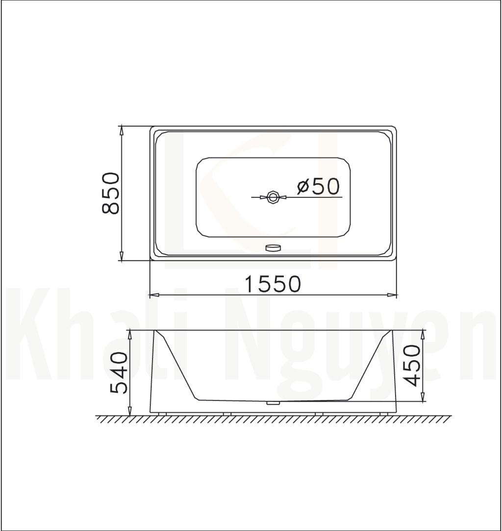 Bản vẽ kỹ thuật bồn tắm CAESAR AT6250