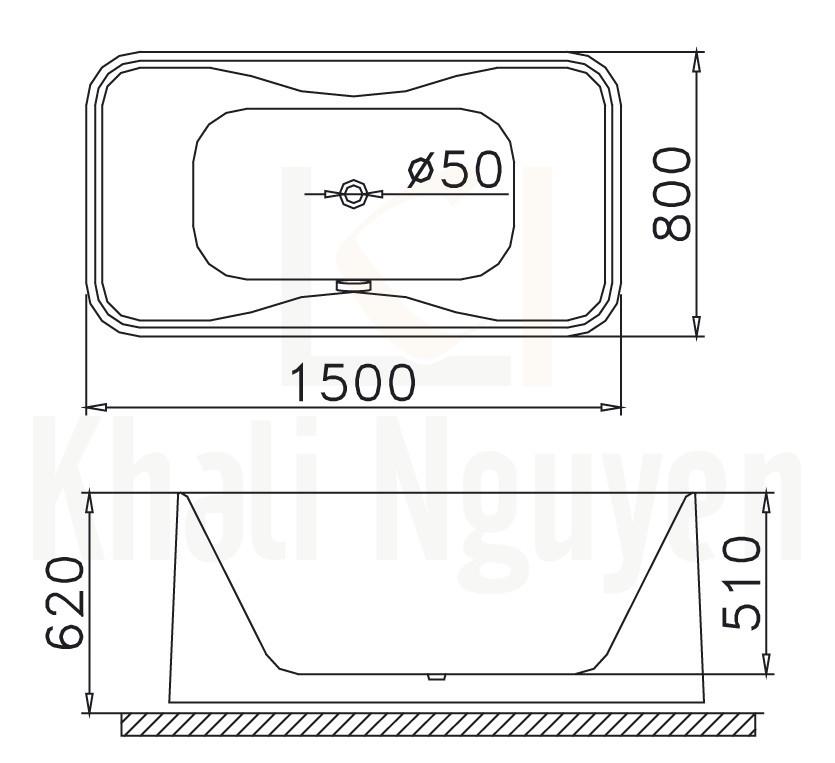 Bản vẽ kỹ thuật bồn tắm CAESAR AT0950