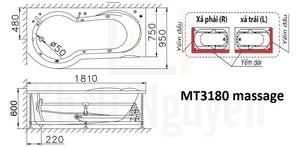 Bản vẽ kỹ thuật bồn tắm Caesar MT3180L/R