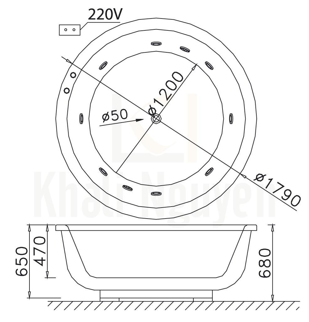 Bản vẽ kỹ thuật bồn tắm CAESAR MT6470