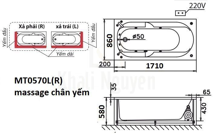Bản vẽ kỹ thuật bồn tắm CAESAR MT0570L/R