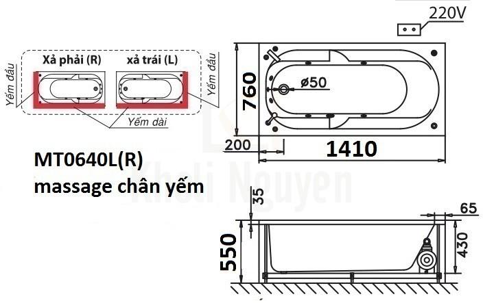 Bản vẽ kỹ thuật bồn tắm CAESAR MT0640L/R