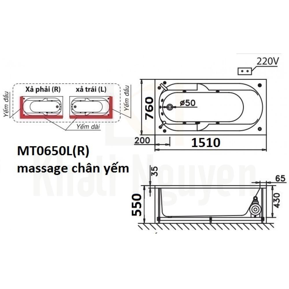 Bản vẽ kỹ thuật bồn tắm CAESAR MT0650L/R