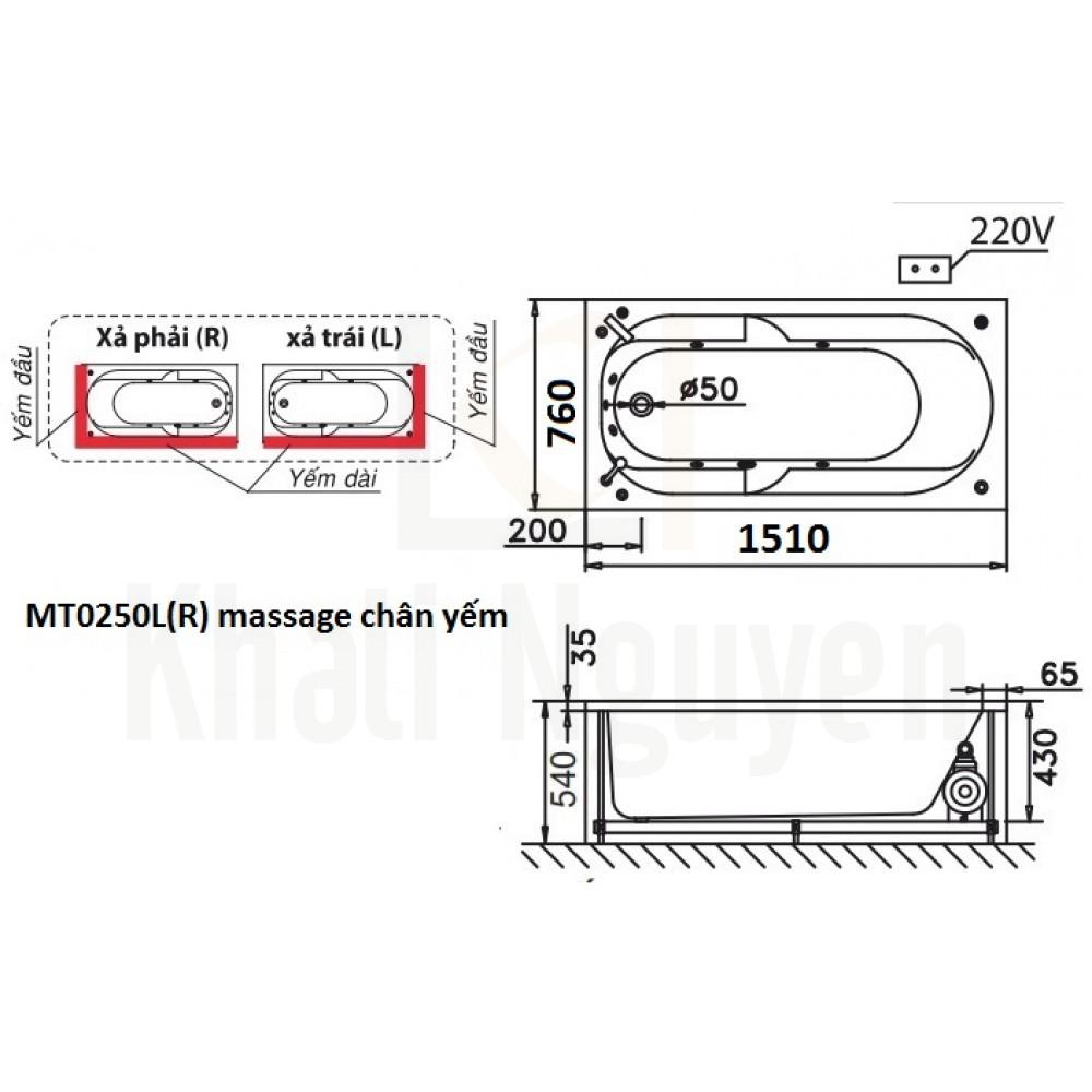 Bản vẽ kỹ thuật bồn tắm CAESAR MT0250L/R