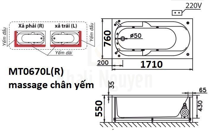 Bản vẽ kỹ thuật bồn tắm CAESAR MT0670L/R