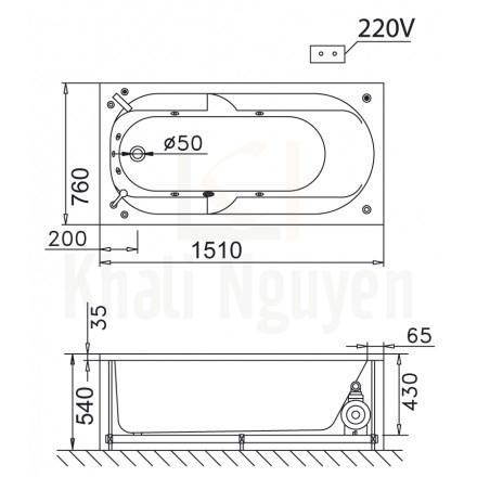 Bản vẽ kỹ thuật bồn tắm CAESAR MT0250