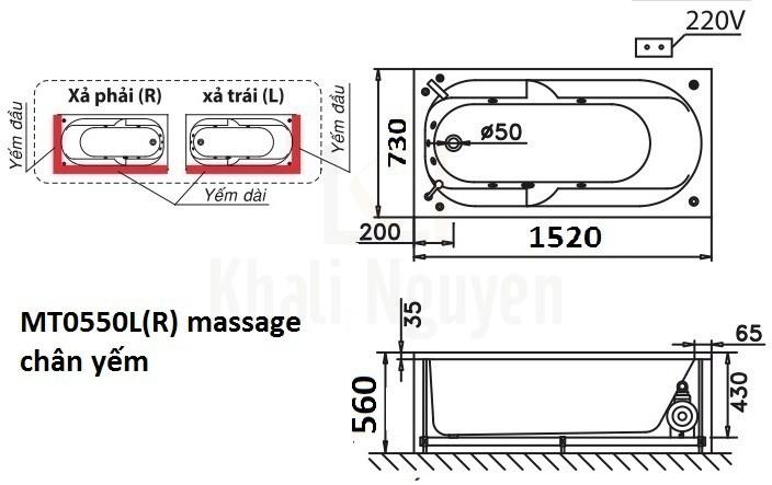 Bản vẽ kỹ thuật bồn tắm CAESAR MT0550L/R 1,5M