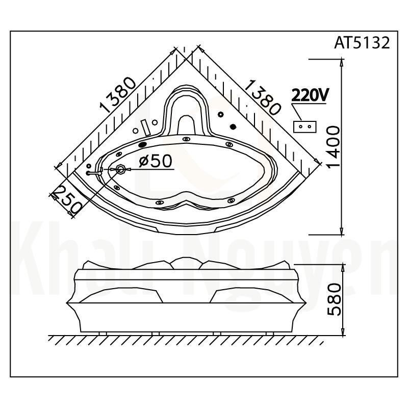 Bản vẽ kỹ thuật bồn tắm CAESAR AT5132