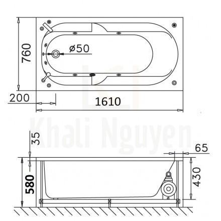 Bản vẽ kỹ thuật bồn tắm CAESAR MT0460