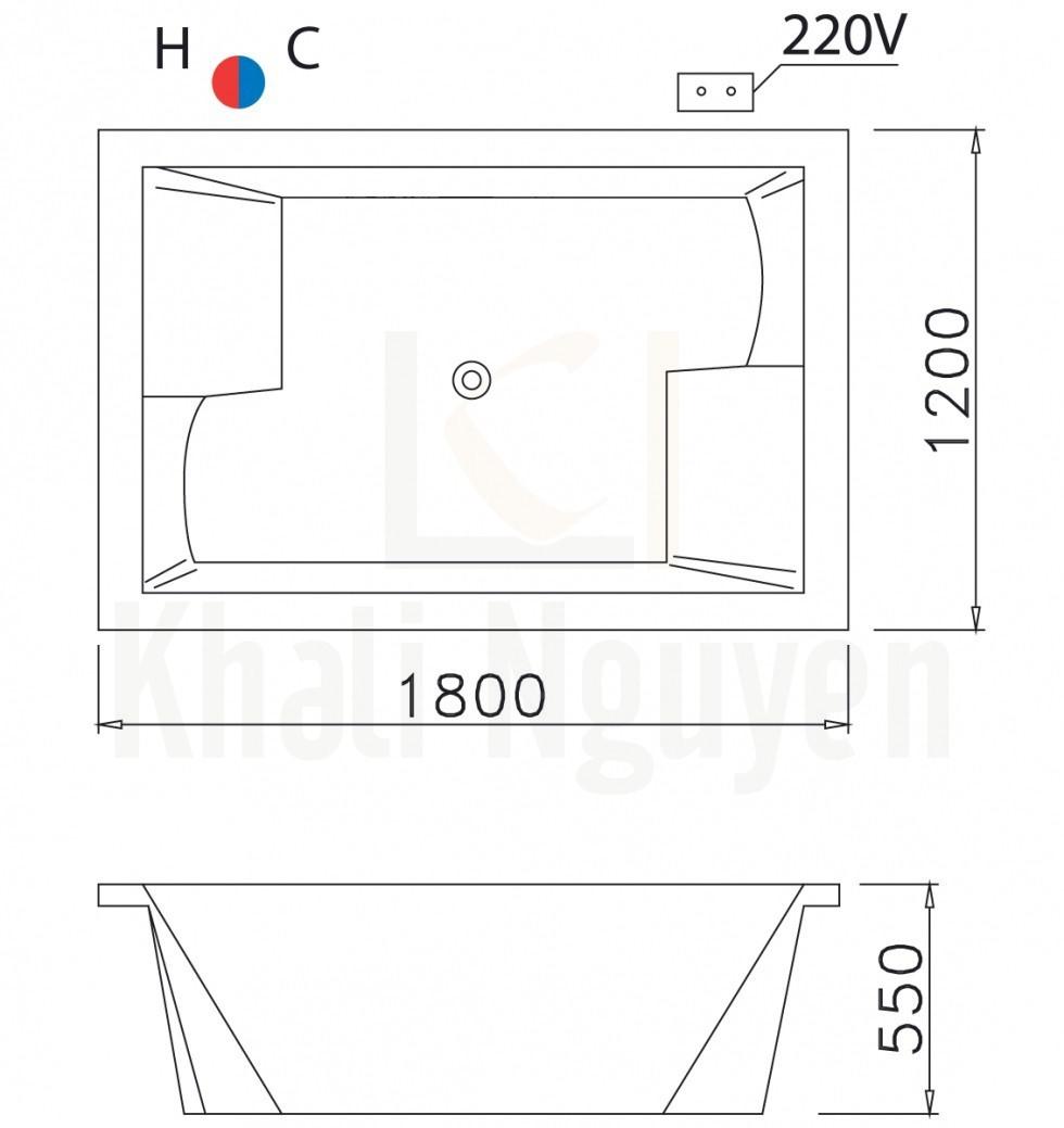 Bản vẽ kỹ thuật bồn tắm CAESAR MT7180C Có Đèn