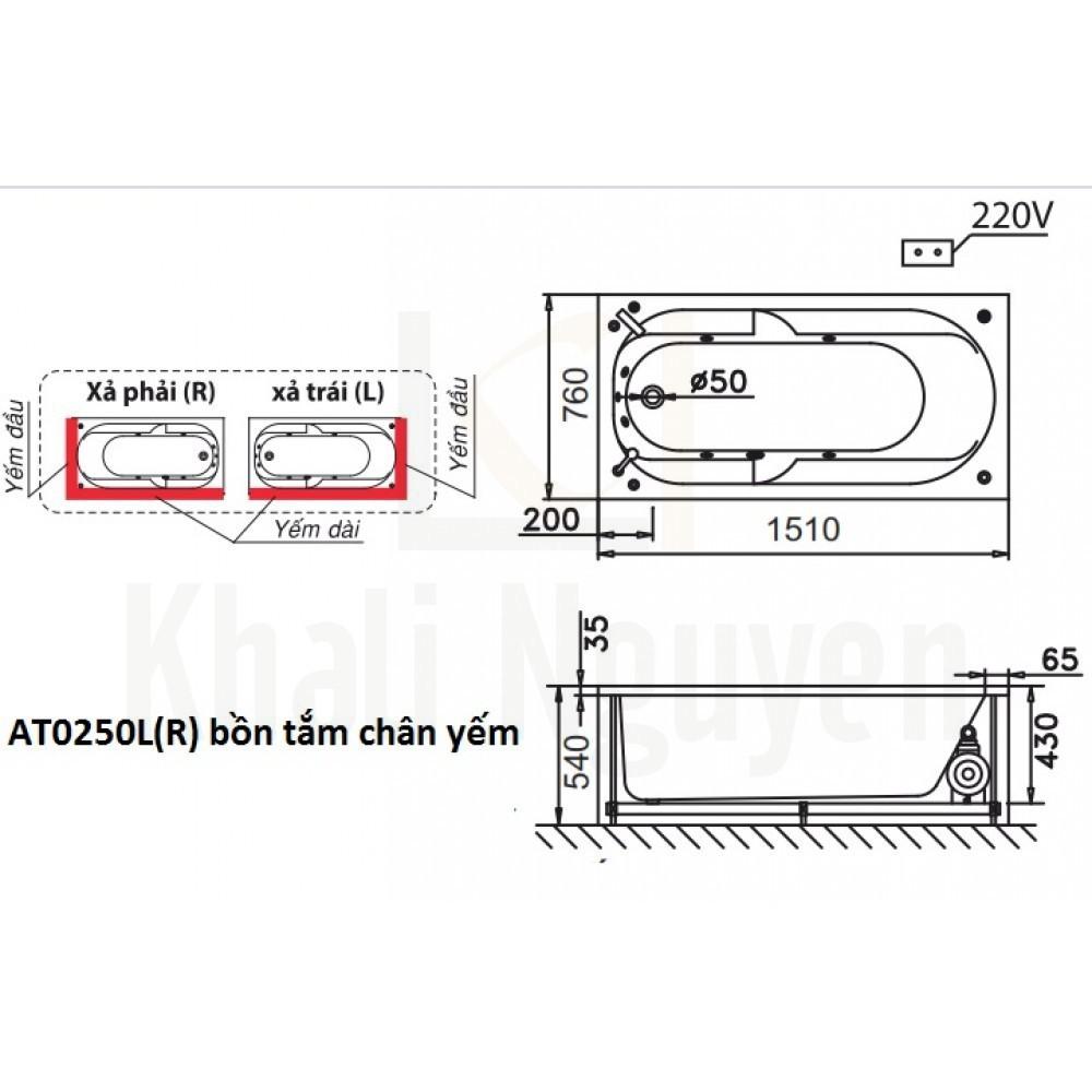 Bản vẽ kỹ thuật bồn tắm CAESAR AT0250L/R