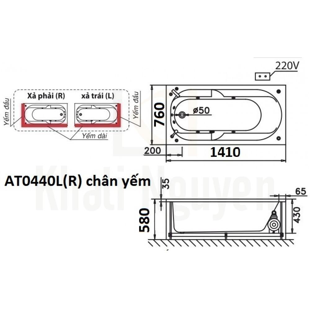 Bản vẽ kỹ thuật bồn tắm CAESAR AT0440L/R