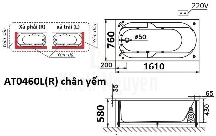 Bản vẽ kỹ thuật bồn tắm CAESAR AT0460L/R