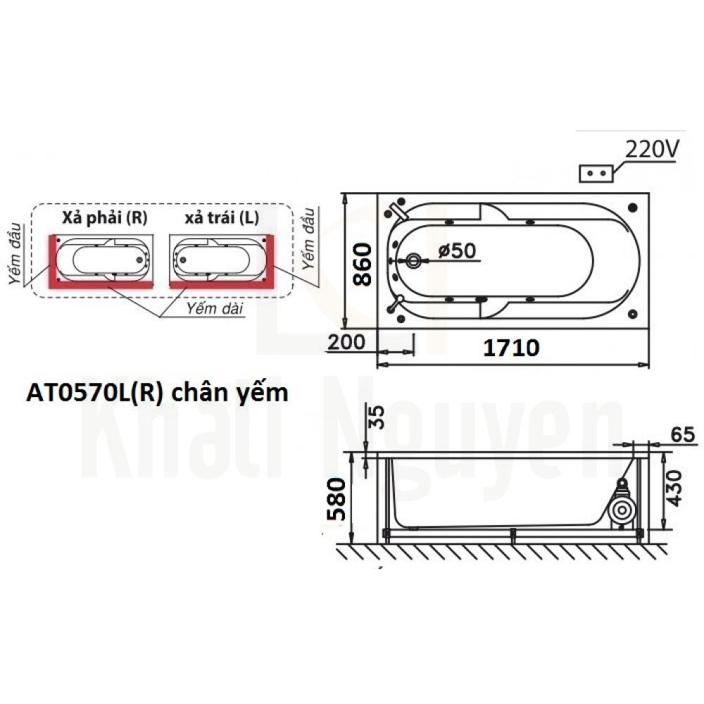 Bản vẽ kỹ thuật bồn tắm CAESAR AT0570L/R