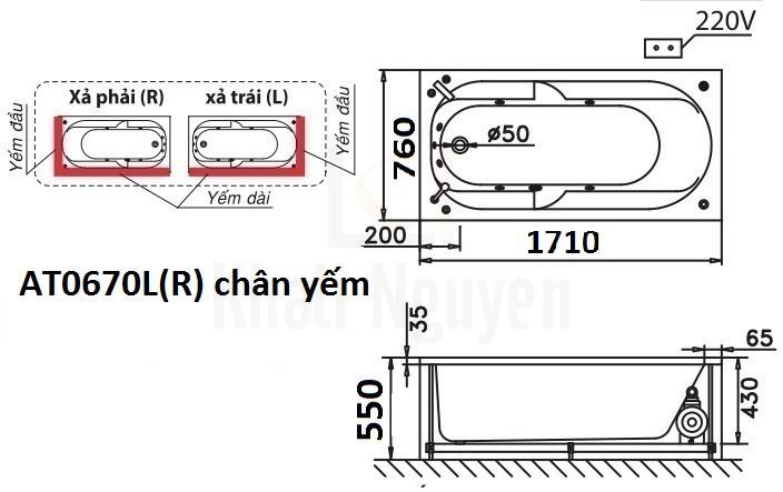 Bản vẽ kỹ thuật bồn tắm CAESAR AT0670L/R