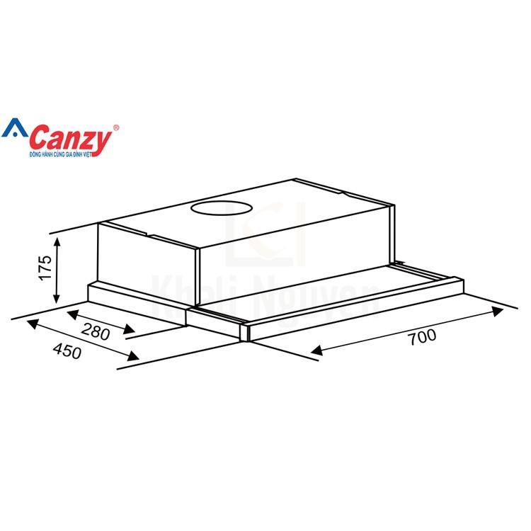 Bản Vẽ Máy Hút Mùi Âm Tủ Canzy CZ-7002G Khử Mùi Bằng Than Hoạt Tính