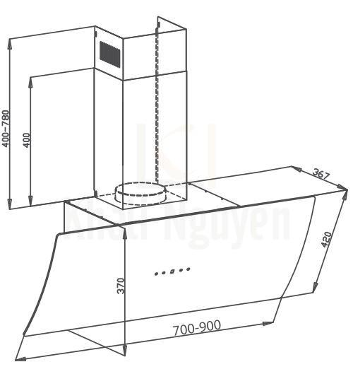 Bản vẽ kỹ thuật máy hút mùi Canzy CZ-087D
