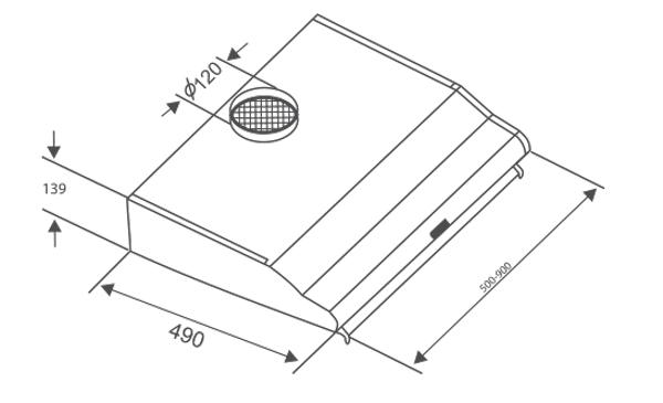 Bản vẽ kỹ thuật máy hút mùi Canzy CZ-2060I