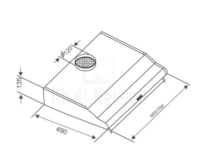 Bản Vẽ Máy Hút Mùi Âm Tủ Canzy CZ-2070I Khử Mùi Bằng Than Hoạt Tính