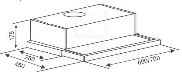 Bản vẽ kỹ thuật máy hút mùi Canzy CZ-600GH