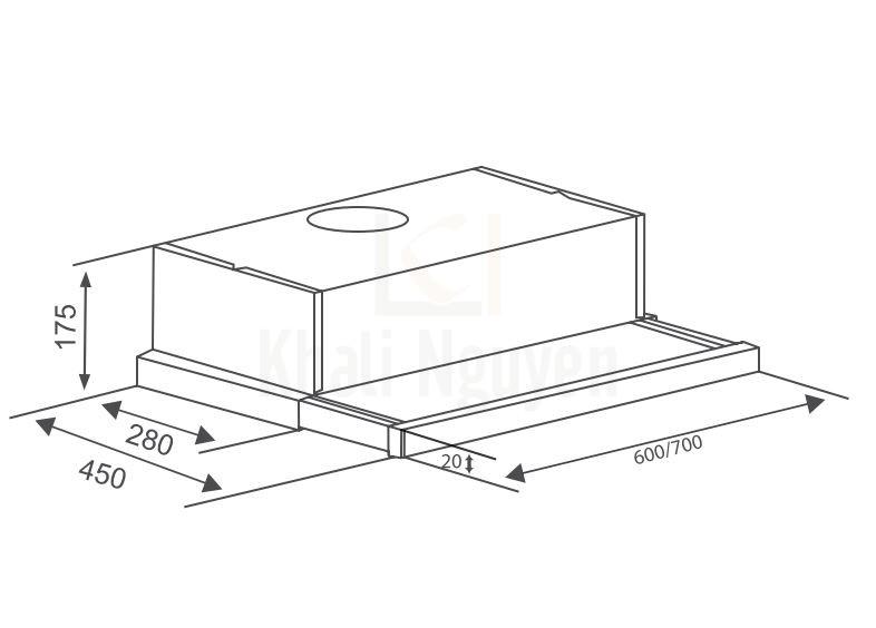 Bản Vẽ Máy Hút Mùi Âm Tủ Canzy CZ-7002 SYP Khử Mùi Bằng Than Hoạt Tính