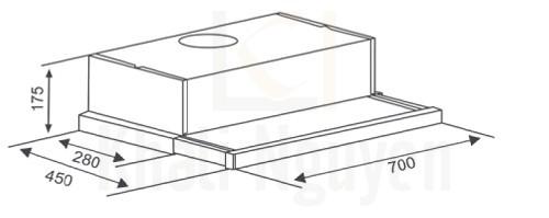 Bản vẽ kỹ thuật máy hút mùi Canzy CZ-700GI