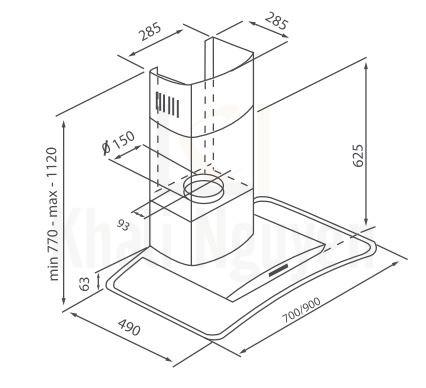 Bản vẽ kỹ thuật máy hút mùi Canzy CZ-A37