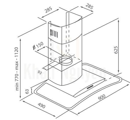Bản vẽ kỹ thuật máy hút mùi Canzy CZ-MR90