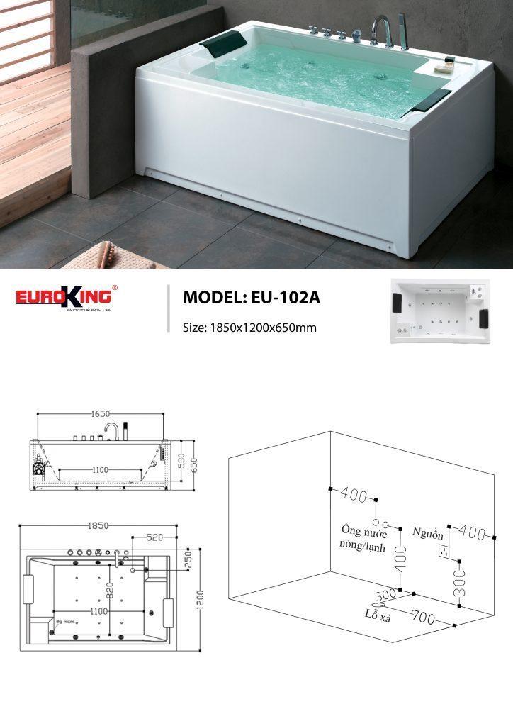Bản vẽ sơ đồ kỹ thuật bồn tắm massage EU – 102A