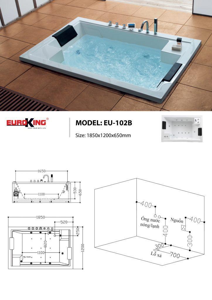 Bản vẽ sơ đồ kỹ thuật bồn tắm massage EU – 102B