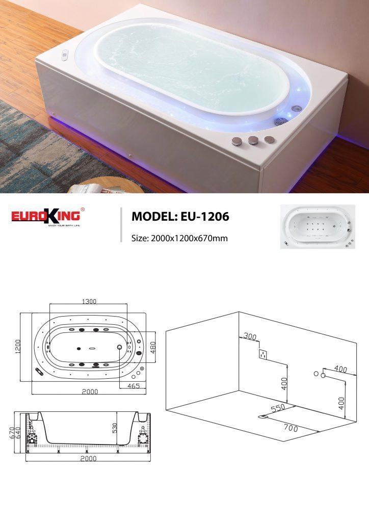 Sơ đồ kĩ thuật bồn tắm massage EU-1206