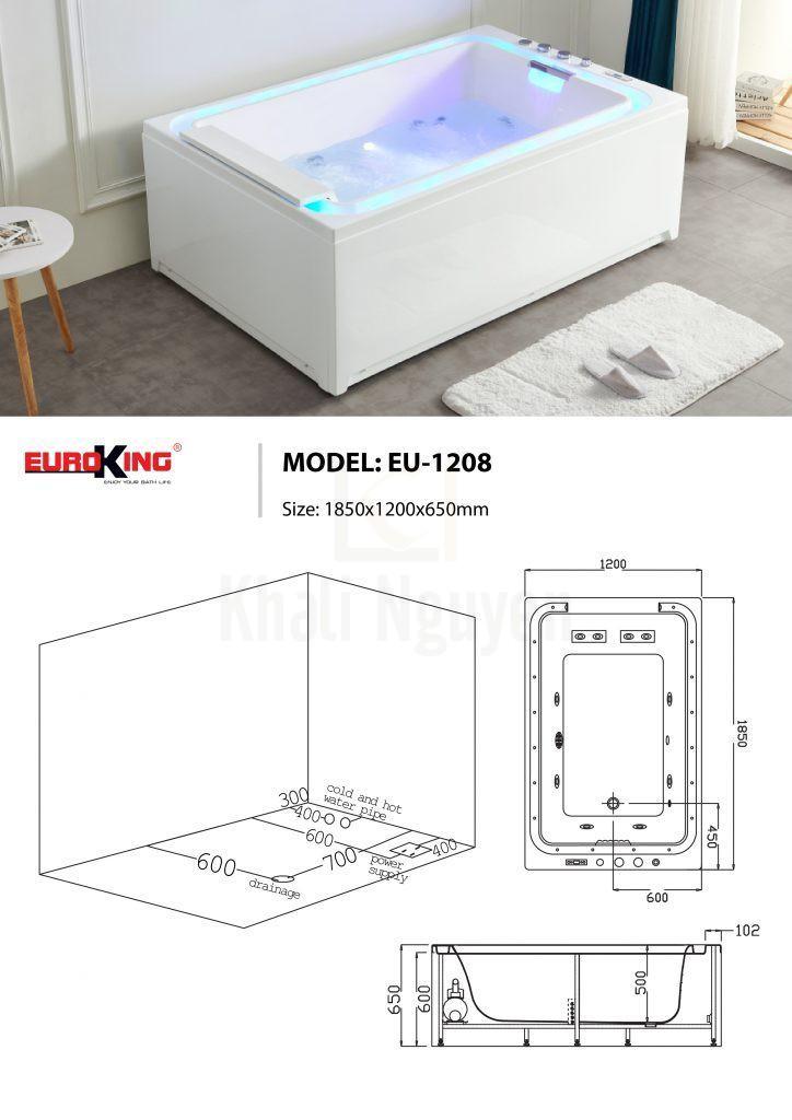 Sơ đồ kĩ thuật bồn tắm massage EU-1208
