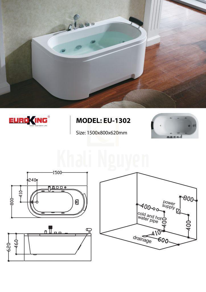 Sơ đồ kĩ thuật bồn tắm massage EU-1302