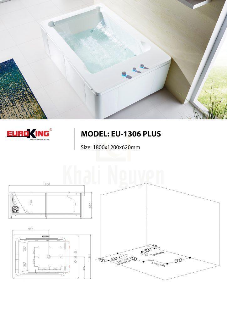 Bản vẽ kỹ thuật bồn tắm eu-1306 Plus