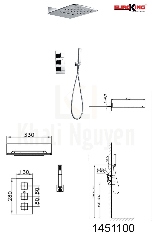 Bản vẽ kỹ thuật Sen tắm âm tường EU-1451100