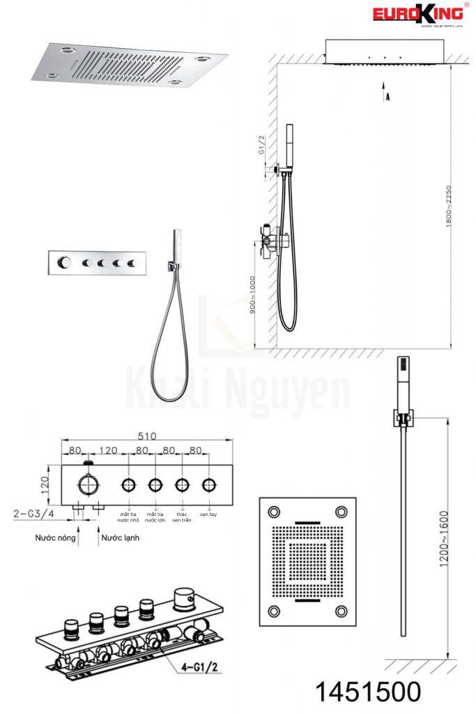 Bản vẽ kỹ thuật Sen tắm âm tường EU-1451500